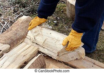 empilhando, madeira