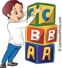 empilhando, menino, blocos, ilustração, alfabeto