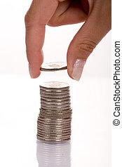 empilhando, moedas