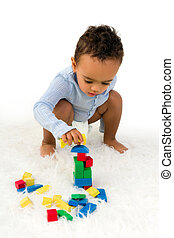 empilhando, toddler, blocos
