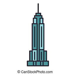 Empire state building flat line illustration, concept vector...