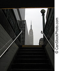 Empire State Building in New York, photo taken from metro...