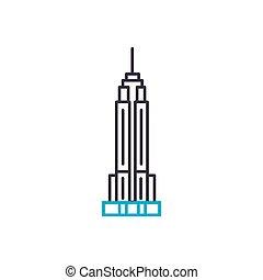 Empire state building linear icon concept. Empire state building line vector sign, symbol, illustration.