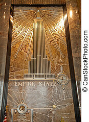 wall mural of Empire State Building in the main lobby entrance, New York, USA