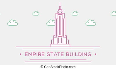 Empire state building NY. Part of the set. Animated outlined...