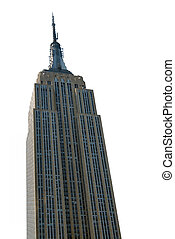 Empire State Building skyscraper, NYC, on white background...