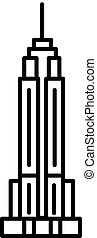 empire state building vector line icon, sign, illustration...