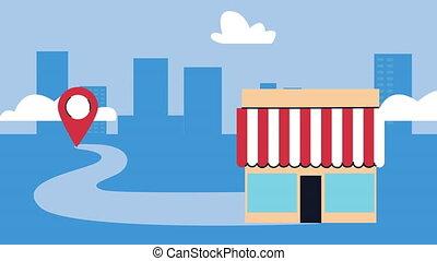 emplacement, épingle, magasin, scène, bâtiment