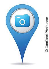 emplacement, appareil photo, icône