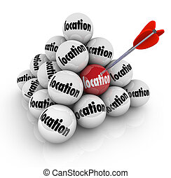 emplacement, balle, pyramide, beaucoup, choix, choisir, mieux, endroit, secteur