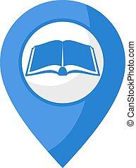 emplacement, bibliothèque, icône