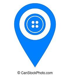 emplacement, bouton, épingle