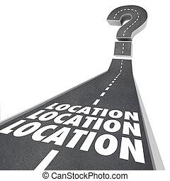 emplacement, emplacement, emplacement, mots, route, destination, navigation