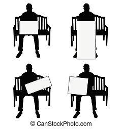 emplacement, ensemble, silhouette, illustration, chaise, blanc, carte, homme