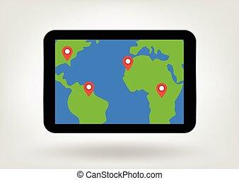 emplacement, epingles, sur, carte, sur, tablette, exposer,...