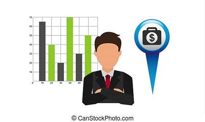 emplacement, finances, épingle, économie, homme affaires