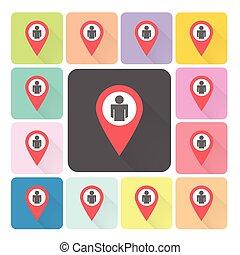 emplacement, gens, icône, couleur, ensemble, vecteur, illustration