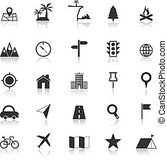 emplacement, icônes, à, porter atteinte, fond blanc