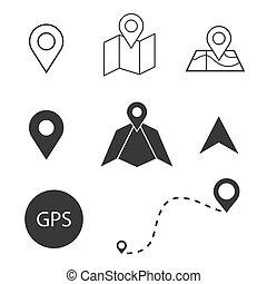 emplacement, icons., navigation, ensemble, gps, carte
