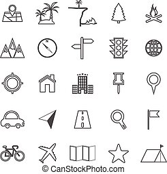 emplacement, ligne, icônes, blanc, fond