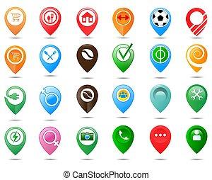 emplacement, logo., ensemble, indicateurs, épingle, carte, point
