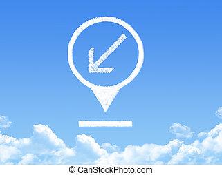 emplacement, marqueur, nuage, forme