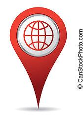 emplacement, mondiale, icône, dans, rouges, couleur
