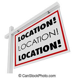emplacement, signe bien immobilier, désirable, tache, endroit, mieux, secteur, maison