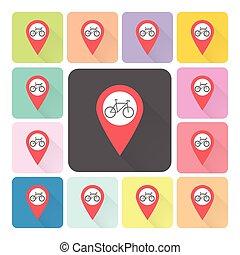emplacement, vélo, icône, couleur, ensemble, vecteur, illustration