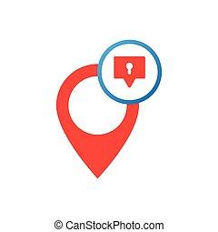 emplacement, vecteur, message, icône