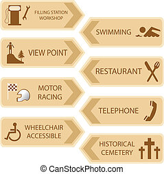 emplacements, touriste, icône