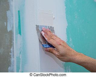 emplastrar, trowel, costura, plasterboard, drywall,...