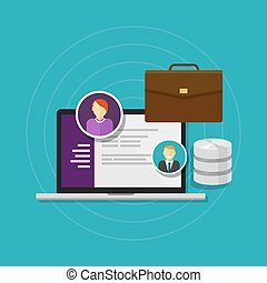 empleado, base de datos, humano, recurso, software, sistema
