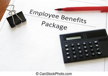 empleado, calculadora, beneficios, pluma, paquete