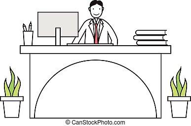 empleado, caricatura, trabajando, escritorio