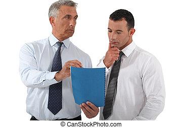 empleado, delegar, trabajo, jefe
