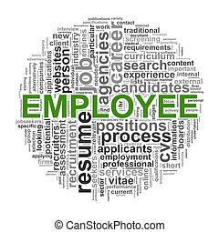 empleado, diseño, wordcloud, palabra, circular