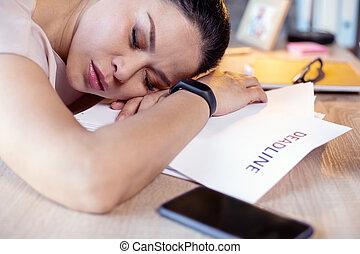 empleado, dormir la siesta, trabajo, tranquilo, hembra