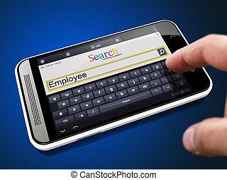 empleado, en, búsqueda, cuerda, en, smartphone.