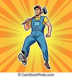 empleado, especialista, martillo, trabajador, trabajando