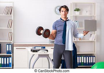 empleado, estilo de vida, sano, trabajo, mezclando