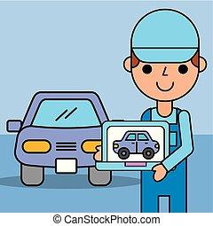 empleado, experto, tenencia, computadora, diagnóstico, servicio coche
