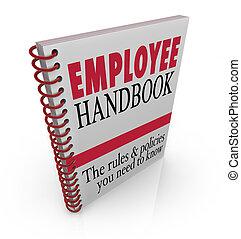 empleado, manual, reglas, policies, seguir, en el trabajo,...