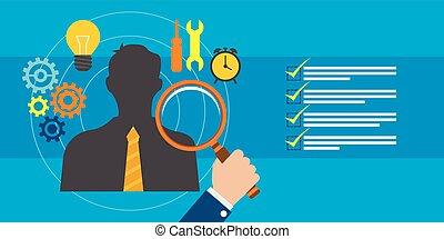 empleado, reclutamiento, y, dirección