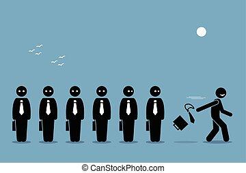 empleado, salir, y, dimitir