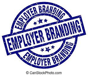 empleador, branding, azul, redondo, grunge, estampilla