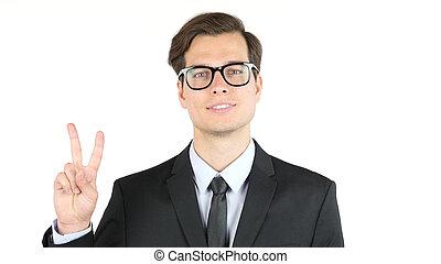 empleador, satisfecho, con, el suyo, ganancia, ingresos, ganancias, signo victoria