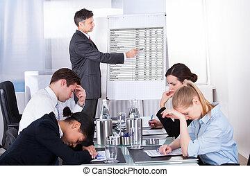 empleados, aburrido, reunión, empresa / negocio