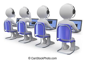 empleados, centro de la llamada, trabajando