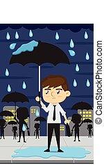 empleados, día lluvioso